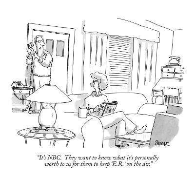 """""""It's NBC.  They want to know what it's personally worth to us for them to…"""" - New Yorker Cartoon-Jack Ziegler-Premium Giclee Print"""