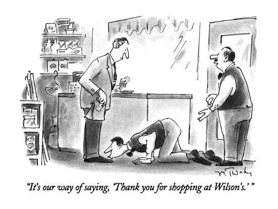 """""""It's our way of saying, 'Thank you for shopping at Wilson's.' """" - New Yorker Cartoon-Mike Twohy-Premium Giclee Print"""