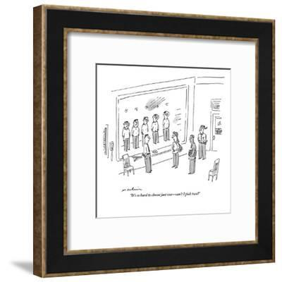 """""""It's so hard to choose just one?can't I pick two?"""" - New Yorker Cartoon-Michael Maslin-Framed Premium Giclee Print"""