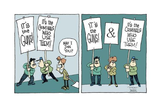 It's the guns!  and  It's the criminals who use them!-Signe Wilkinson-Art Print