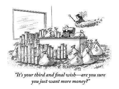 """""""It's your third and final wish?are you sure you just want more money?"""" - New Yorker Cartoon-Tom Cheney-Premium Giclee Print"""