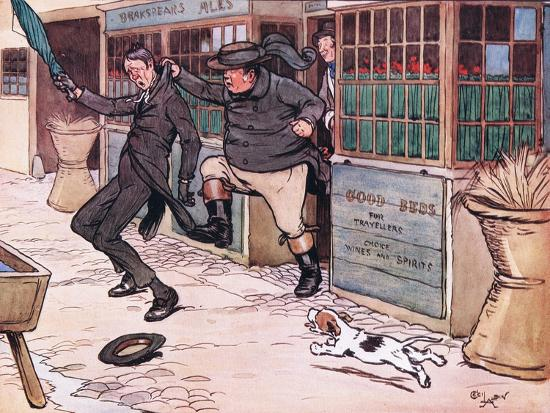 It Was a Beautiful and Exhilerating Sight to See the Red Nose Man Writhing in Mr Wellers Grasp-Cecil Aldin-Giclee Print