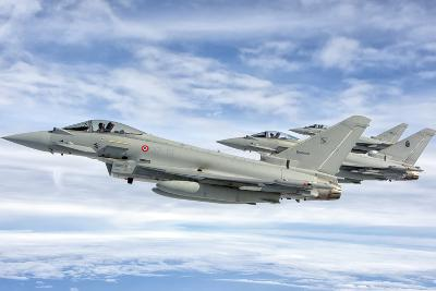 Italian Air Force F-2000 Typhoon Aircraft Fly in Formation-Stocktrek Images-Photographic Print