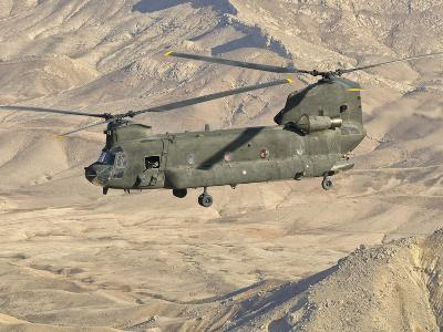 Italian Army CH-47C Chinook Helicopter in Flight over Afghanistan-Stocktrek Images-Photographic Print