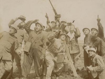 Italian Army Soldiers with a Machine Gun Anti-Aircraft During the First World War, Castenedolo--Photographic Print