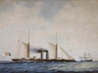 Italian Battleship Affondatore, 1866, 19th Century, Watercolor--Giclee Print