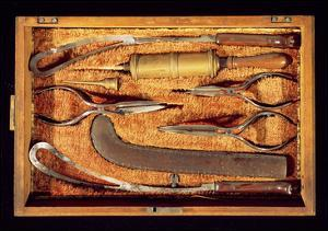 Box of Obstetric Instruments (Wood and Metal) by Italian
