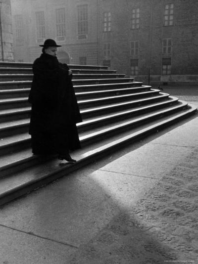 Italian Catholic Priest Majestically Descending Stairs-Alfred Eisenstaedt-Photographic Print