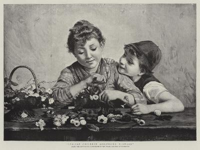 Italian Children Arranging Flowers-Luigi Bechi-Giclee Print