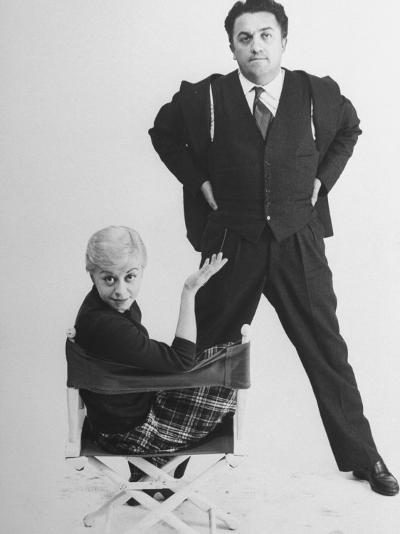 Italian Dir. Federico Fellini and Actress Wife Giulietta Masina Posing in Studio-Gjon Mili-Premium Photographic Print