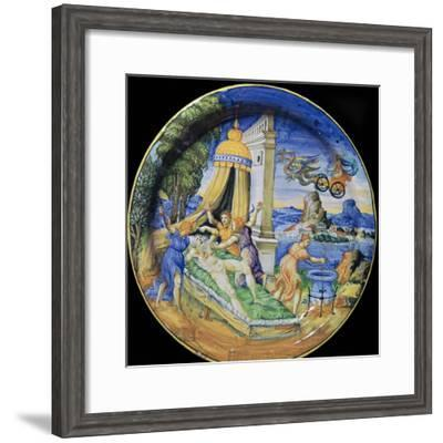 Italian earthenware plate showing Pelias being killed by his daughters, 16th century-Francesco Durantino-Framed Giclee Print