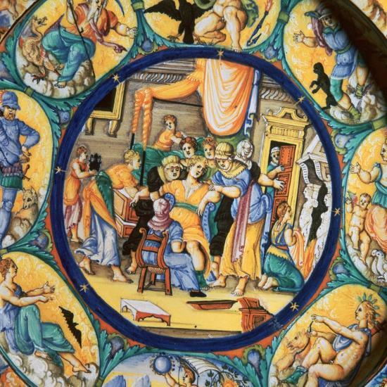 Italian earthenware plate showing the birth of Hercules-Unknown-Giclee Print