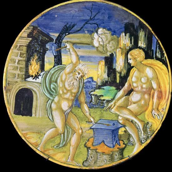 Italian earthenware plate showing Vulcan forging arrows for Cupid, c.16th century-Unknown-Giclee Print