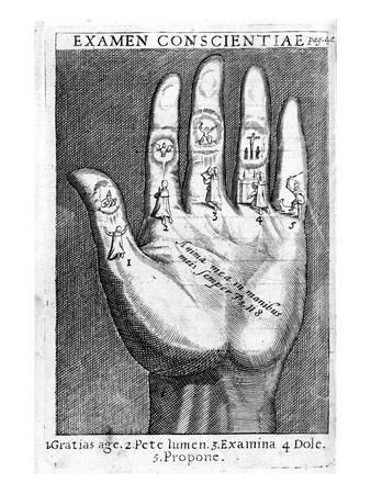 Examen Conscientiae, Illustration from 'Exercitia Spiritualia' by St. Ignatius De Loyola