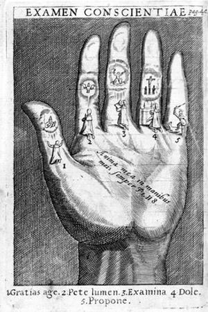Examen Conscientiae, Illustration from 'Exercitia Spiritualia' by St. Ignatius De Loyola by Italian