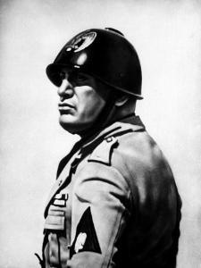 Italian Fascist Dictator Benito Mussolini Wearing Military Uniform and Helmet