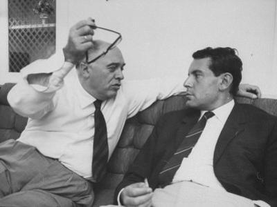 Italian Film Maker, Carlo Ponti, with Czech Director, Milos Forman, While Visiting New York City