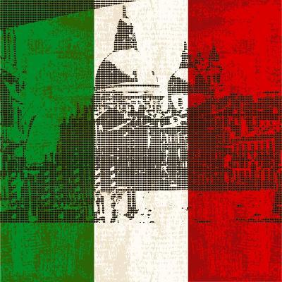 Italian Flag And Venice-Petrafler-Art Print