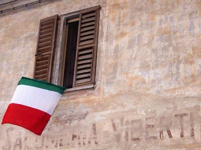 Italian Flag Hanging from Window-Martyn Goddard-Photographic Print