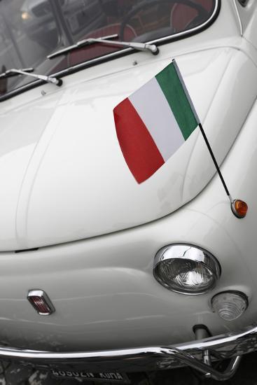 Italian Flag on Fiat 500 Car, Rome, Lazio, Italy, Europe-Stuart Black-Photographic Print