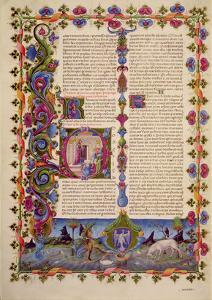 Fol.233V Letter from St. John to the Apostles, from the Borso D'Este Bible. Vol 2 (Vellum) by Italian