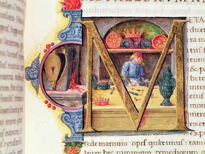 Historiated Initial 'M' Depicting a Metalworker, from the 'Naturalis Historia' by Pliny the Elder by Italian