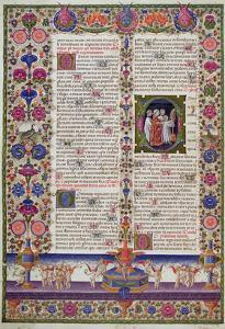 Illuminated Page from the Book of Psalms, from the Borso D'Este Bible. Vol 1 (Vellum) by Italian