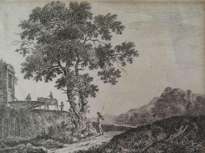 Italian Landscape, Etched by C. G-Jean-Baptiste Antoine Tierce-Giclee Print