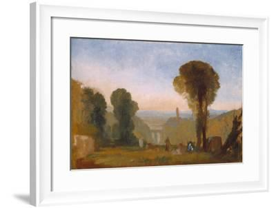 Italian Landscape with Bridge and Tower-J^ M^ W^ Turner-Framed Giclee Print