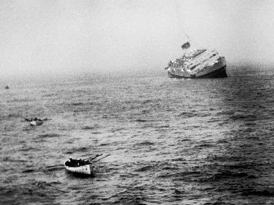 Italian Liner Andrea Doria Sinking in Atlantic After Collision with Swedish Ship Stockholm-Loomis Dean-Photographic Print