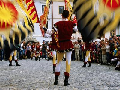 Italian Men Wearing Renaissance Dress with Banner During Gold Trail Festival-Richard Nebesky-Photographic Print