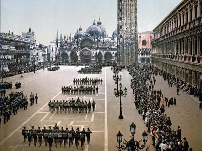 Italian Military Parade in St. Mark's Square in Venice, 1910--Giclee Print