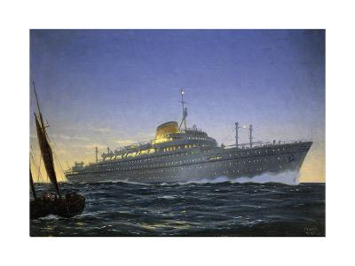 Italian Motor Ship Africa Built for Lloyd Trieste and Used as Cruise Ship--Giclee Print