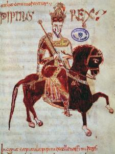 Ms 4 Equestrian Portrait of Pepin (C.773-810) King of Italy, 1023 (Vellum) by Italian