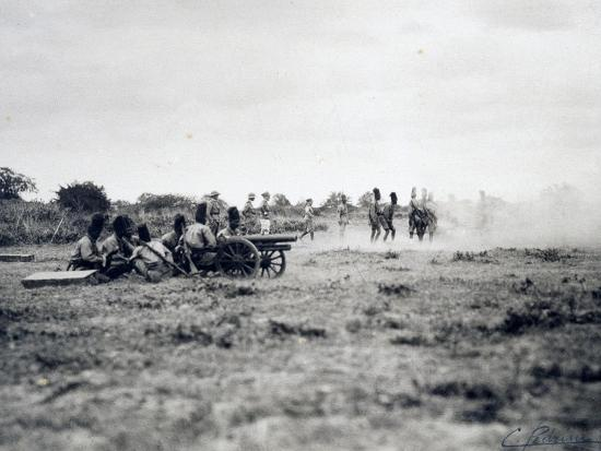 Italian Officers Training Native Troops to Use Artillery, Italian Colonialism in East Africa--Giclee Print