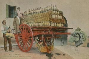 Loading Bottles of Wine onto a Cart, Florence. Postcard Sent in 1913 by Italian Photographer