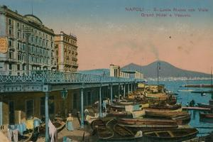 Naples - View of the Grand Hotel Santa Lucia and Mount Vesuvius. Postcard Sent in 1913 by Italian Photographer