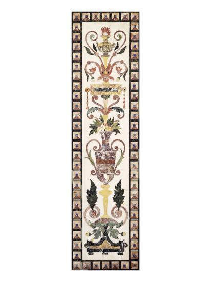 Italian Pietre Dura Inlaid White Marble Panel, Early 18th Century--Giclee Print