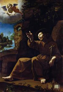 St. Francis of Assisi Consoled by an Angel Musician by Italian School