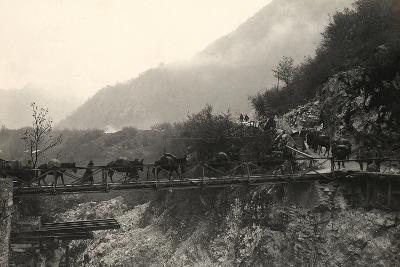 Italian Soldiers Traverse a Bridge over the Isonzo River, on the Outskirts of Caporetto-Ugo Ojetti-Photographic Print