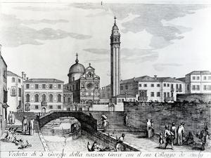 View of San Giorgio Dei Greci and the Flanginian School, Venice (Engraving) by Italian