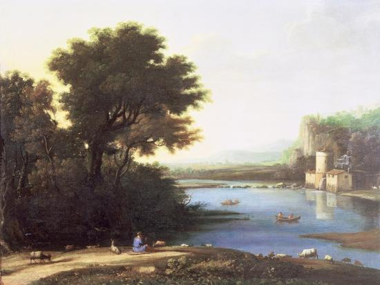 Italianate Landscape with a Goatherd Piping to His Goats-Claude Lorraine-Giclee Print