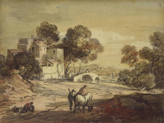 Italianate Landscape with Travellers on a Winding Road-Thomas Gainsborough-Giclee Print