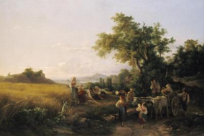 Italienische Landschaft Mit Ochsenwagen Waehrend Der Kornernte-Károly Markó-Giclee Print