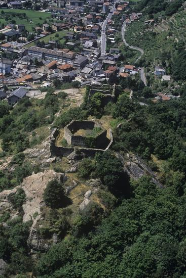 Italy, Aosta Valley, Pont-Saint-Martin, Ruins of Castle, Aerial View--Giclee Print