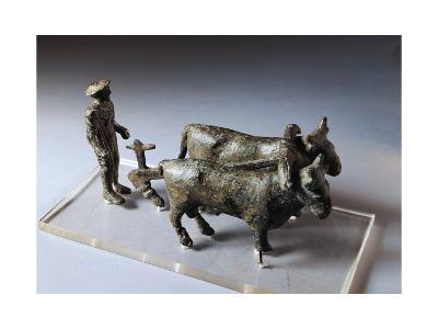 Italy, Arezzo Province, Bronze Statuette of Ploughman with Oxen--Giclee Print