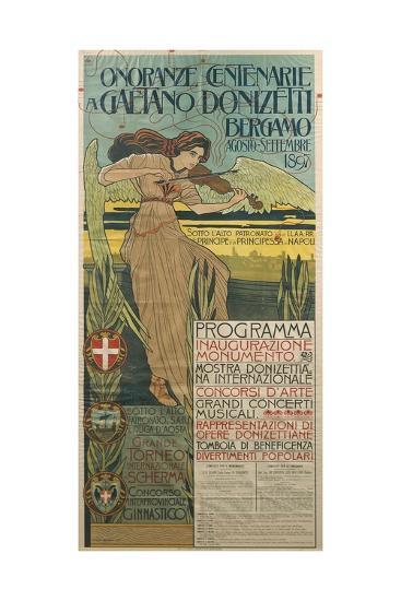 Italy, Bergamo, Poster Commemorating 100th Anniversary of Birth of Composer Gaetano Donizetti--Giclee Print