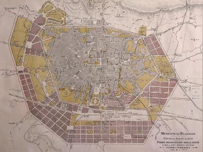 Italy, Bologna, Map with Town Plan--Giclee Print