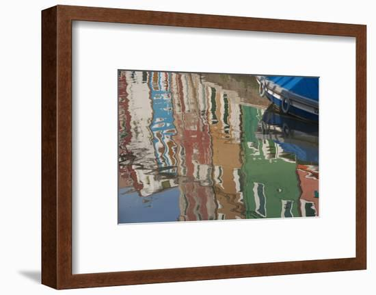 Italy, Burano, reflection of colorful houses in canal.-Merrill Images-Framed Photographic Print