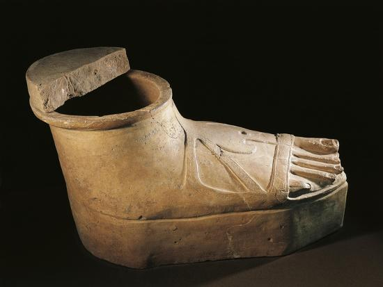 Italy, Calabria, Sarcophagus in the Shape of a Feet Wearing a Buskin, Terracotta--Giclee Print